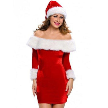 Christmas Faux Fur Fitted Velvet Short Party Dress With Hat - Red L - Rich In Apparel