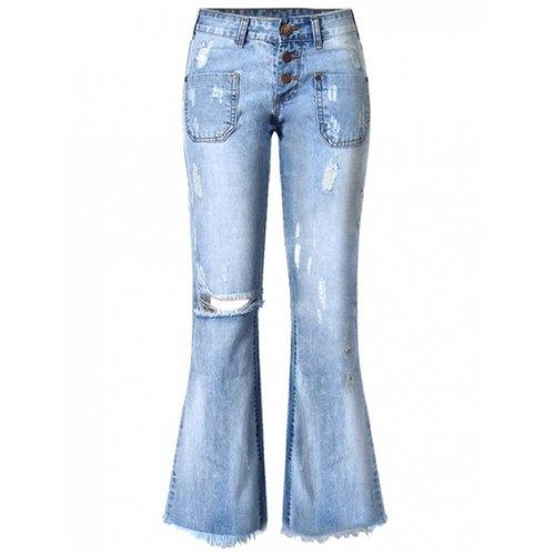 Broken Hole with Pockets Buttoned Jeans - Blue 34 - Rich In Apparel