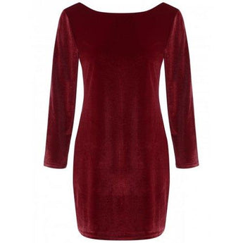Backless Velvet Short Pencil Mini Dress - Wine Red S - Rich In Apparel