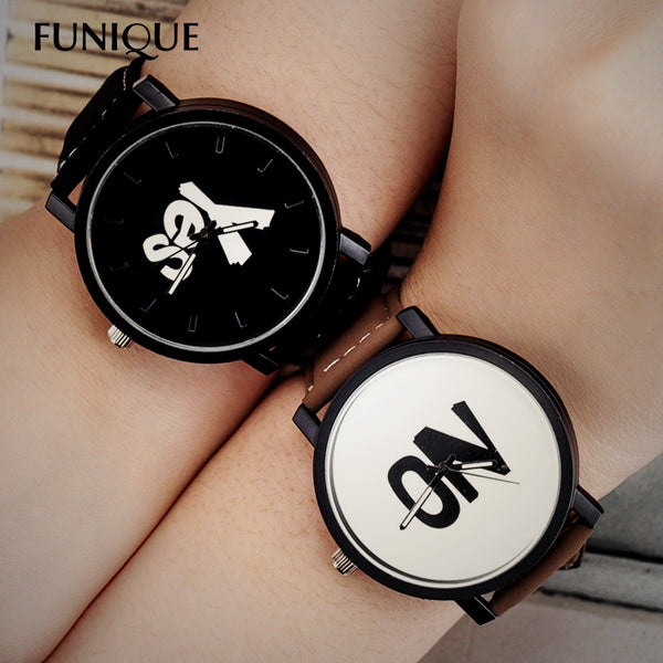 FUNIQUE Black Lovers Couple Watches Women Men PU Leather Simple YES NO Watch Hour Clock Ladies Quartz Wrist watch Harajuku Style - Rich In Apparel