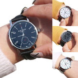 Fashion Faux Leather Band Arabic Numerals Analog Quartz Wrist Watch Couple Gift - Rich In Apparel