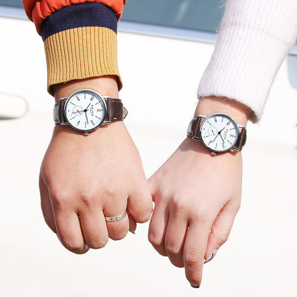Valentine Fashion Faux Leather Band Arabic Numerals Analog Quartz Wrist Watch Couple Gift - Rich In Apparel