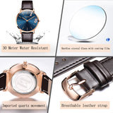 OLEVS Ultrathin Design Lovers Waterproof Watch Quartz Women Men Wristwatch Leather Couple Watches Romantic Christmas Gifts 2861 - Rich In Apparel