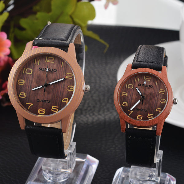 Valentine Retro Vintage Casual Watches Wood Pattern PU Leather Strap Lover Couple Wristwatches men Women Watch - Rich In Apparel