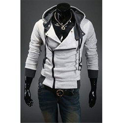 Hot sale styles Men's Autumn and winter cardigan Korean men's Hoodie Jacket Light Gray - Rich In Apparel