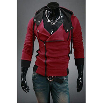 Hot sale styles Men's Autumn and winter cardigan Korean men's Hoodie Jacket Wine Red - Rich In Apparel