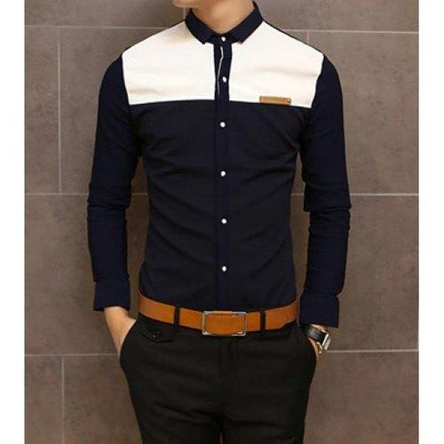 Slimming Trendy Shirt Collar Color Block Splicing Labeling Long Sleeve Cotton Shirt For Men - Navy M