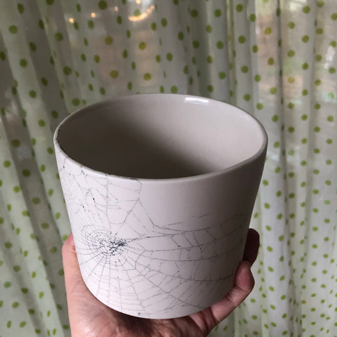 Collected 09.23.2019 Web & Raspberry drawing 36 oz vessel/planter