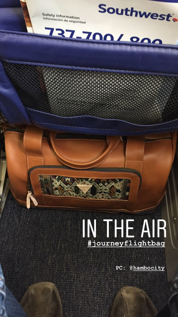 nokeo-journey-bag-mini-leather-duffel-on-airplane-underseat