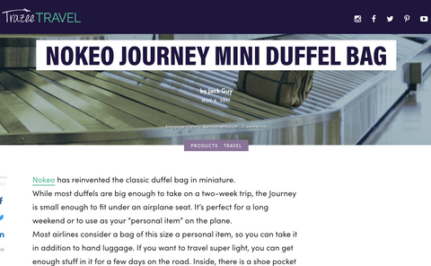 trazee travel article on nokeo journey mini travel duffel bag