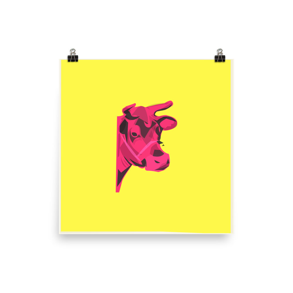 Andy Warhol Cow 1966 - Illustrated Poster