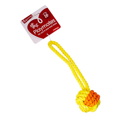 Rubber & Rope Tug Ball - Small