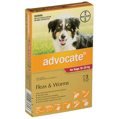 Advocate Large Dogs 10-25kg - 3 pack Flea & Worm