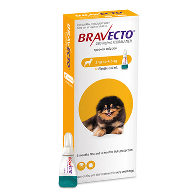 Bravecto Spot On X-Small Dog 2-4.5kg