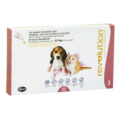 Revolution Kitten & Puppies Up to 2.5kg 3pk Flea & Worm