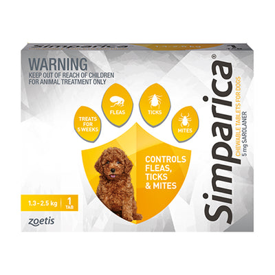 Simparica monthly chew 1.3-2.5kg dogs Flea & Worm