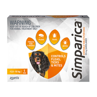 Simparica monthly chew 5.1-10kg dogs Flea & Worm