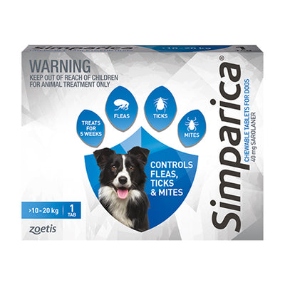 Simparica monthly chew 10.1-20kg dogs