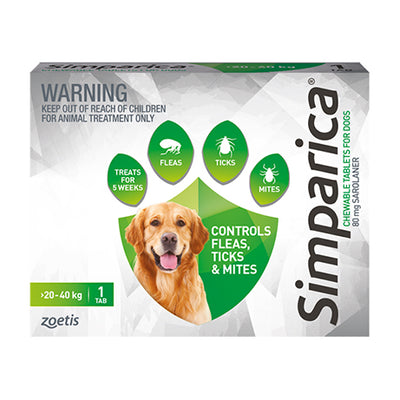 Simparica monthly chew 20.1-40kg dogs Flea & Worm