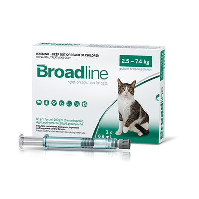 BROADLINE spot-on solution for large cats - 3 Pack Flea & Worm
