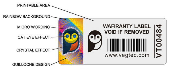 Holographic Tamper Evident Security Label Features