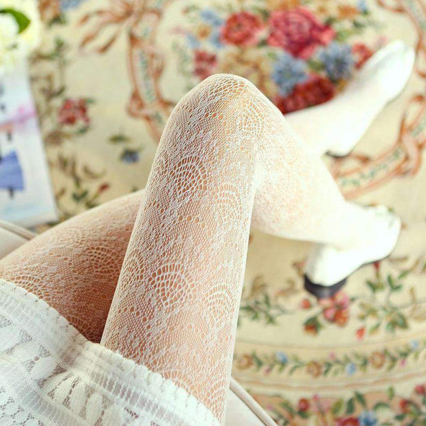 Collants - Collants Dentelle Motifs Délicats - 5 Coloris