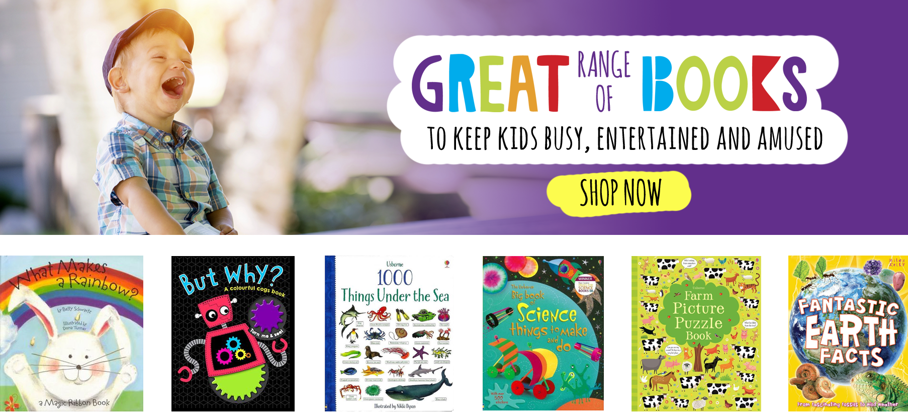 Great range of books to keep kids busy, entertained and amused