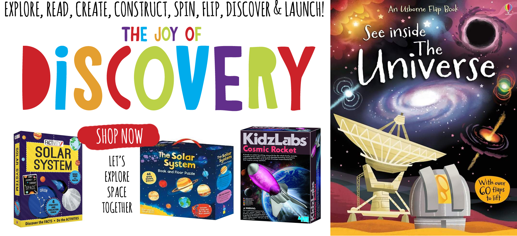 Discover awesome Space themed toys over at Curious Kids Toy Lab.  Space jigsaws, Space  books, science kits