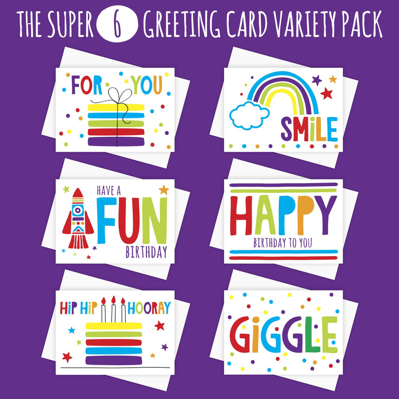 The SUPER SIX Variety Pack of Greeting Cards