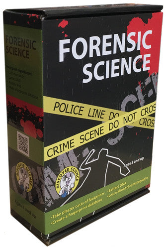 Forensic Science Kit .  There a 4 fun activities included in the kit - you can extract DNA, cast shoe prints, analyse inks and create a fingerprint database