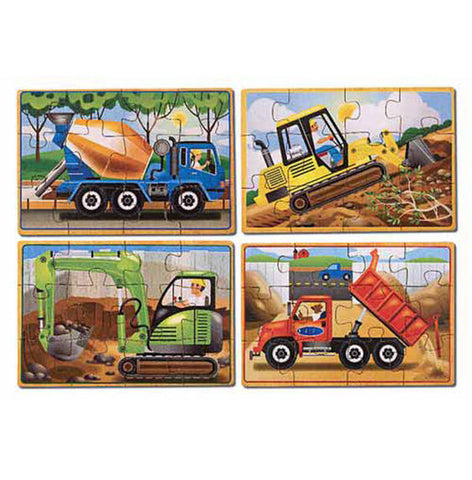 Melissa & Doug Construction Vehicles 4 - in - 1 Wooden Jigsaw Puzzles