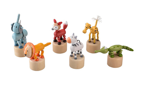 Wooden Push Up Puppet - Jungle Animals