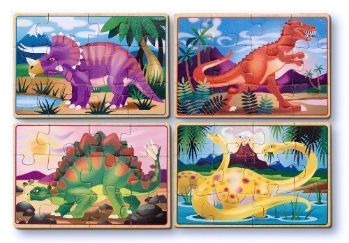 Melissa & Doug Dinosaur 4 - in - 1 Wooden Jigsaw Puzzles