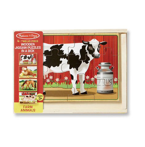 Melissa & Doug Farm Animals Jigsaw Puzzles  4 - in - 1 Wooden Set