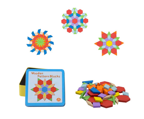 Wooden Pattern Blocks 52pce in Tin