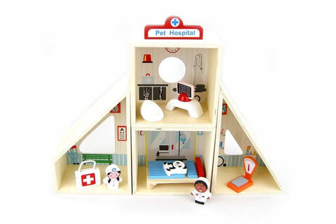 Wooden Pet Veterinary Hospital Play Set