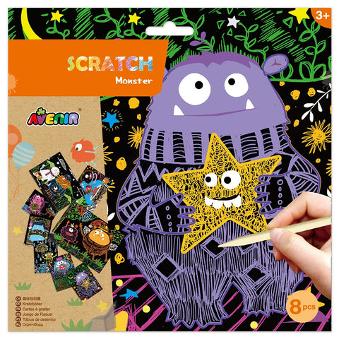 Scratch Art Kit - Monsters Theme