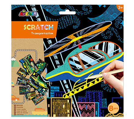 Scratch Art Kit - Transportation Theme
