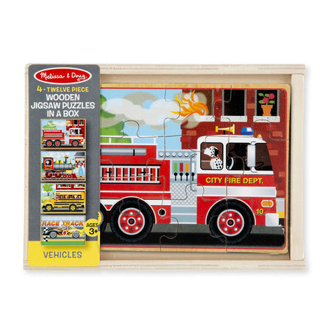 Melissa & Doug Vehicles 4 - in - 1 Wooden Jigsaw Puzzles