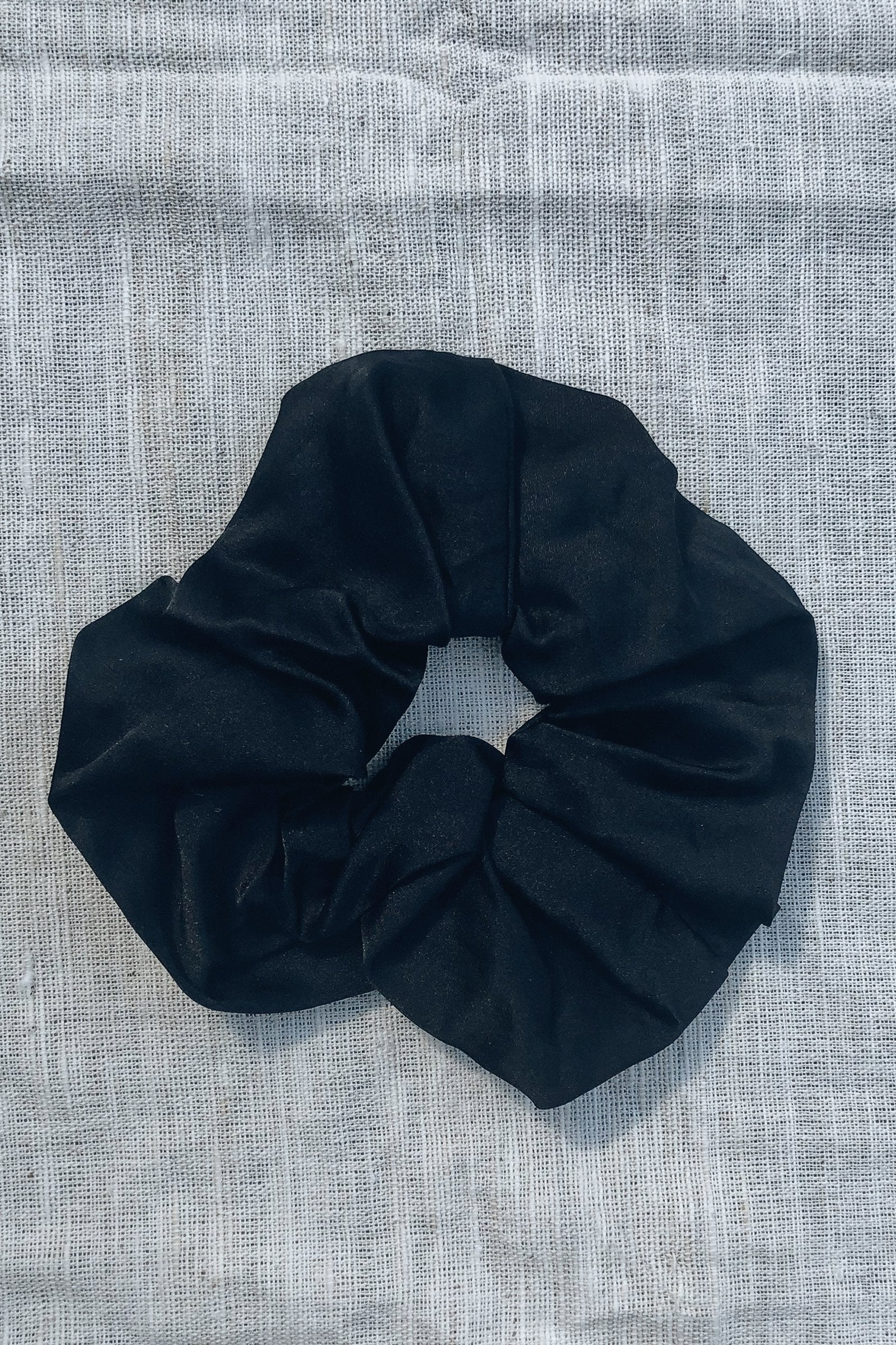 Sustainable Silk Ebony Scrunchie Large