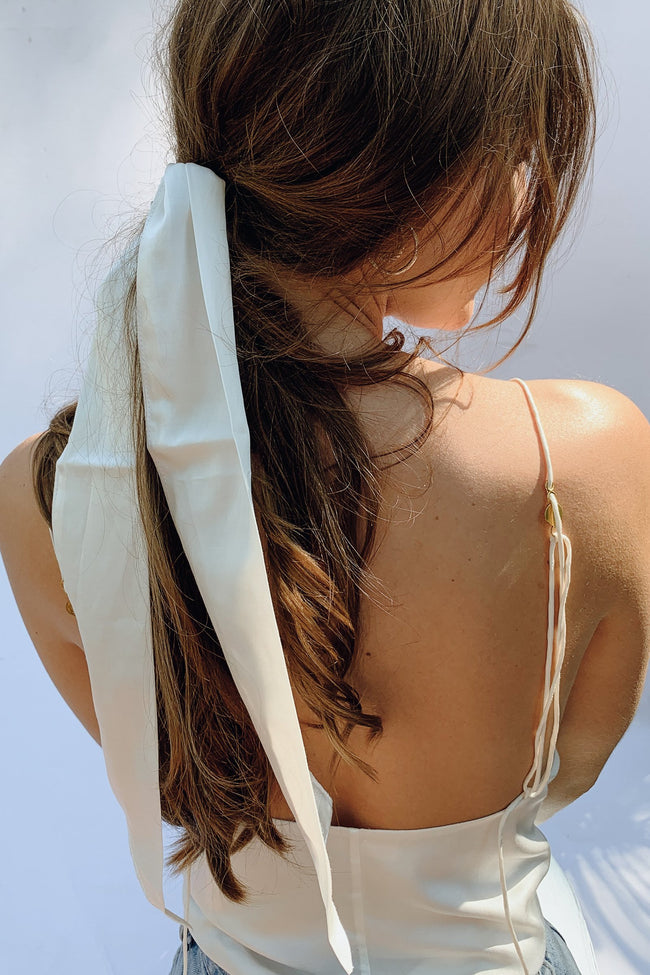 Sustainable Silk Ivory Hair Ribbon