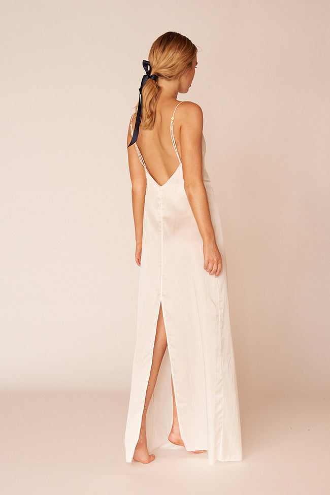 Klimt Minimalist Sustainable White Silk Maxi Dress