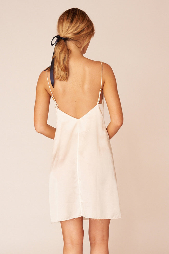Klimt Minimalist Sustainable White Silk Mini Dress