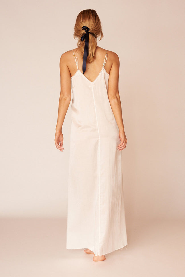 Pablo Minimalist Sustainable White Silk Maxi Dress
