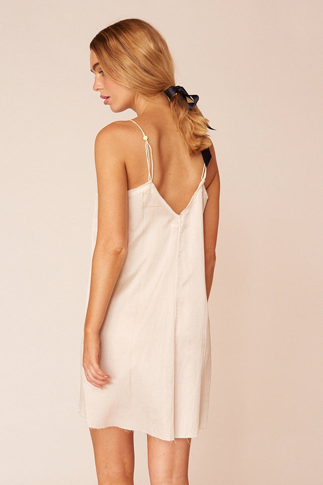 Pablo Minimalist Sustainable White Silk Mini Dress