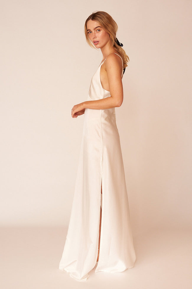 Renoir Minimalist Sustainable White Silk Maxi Dress