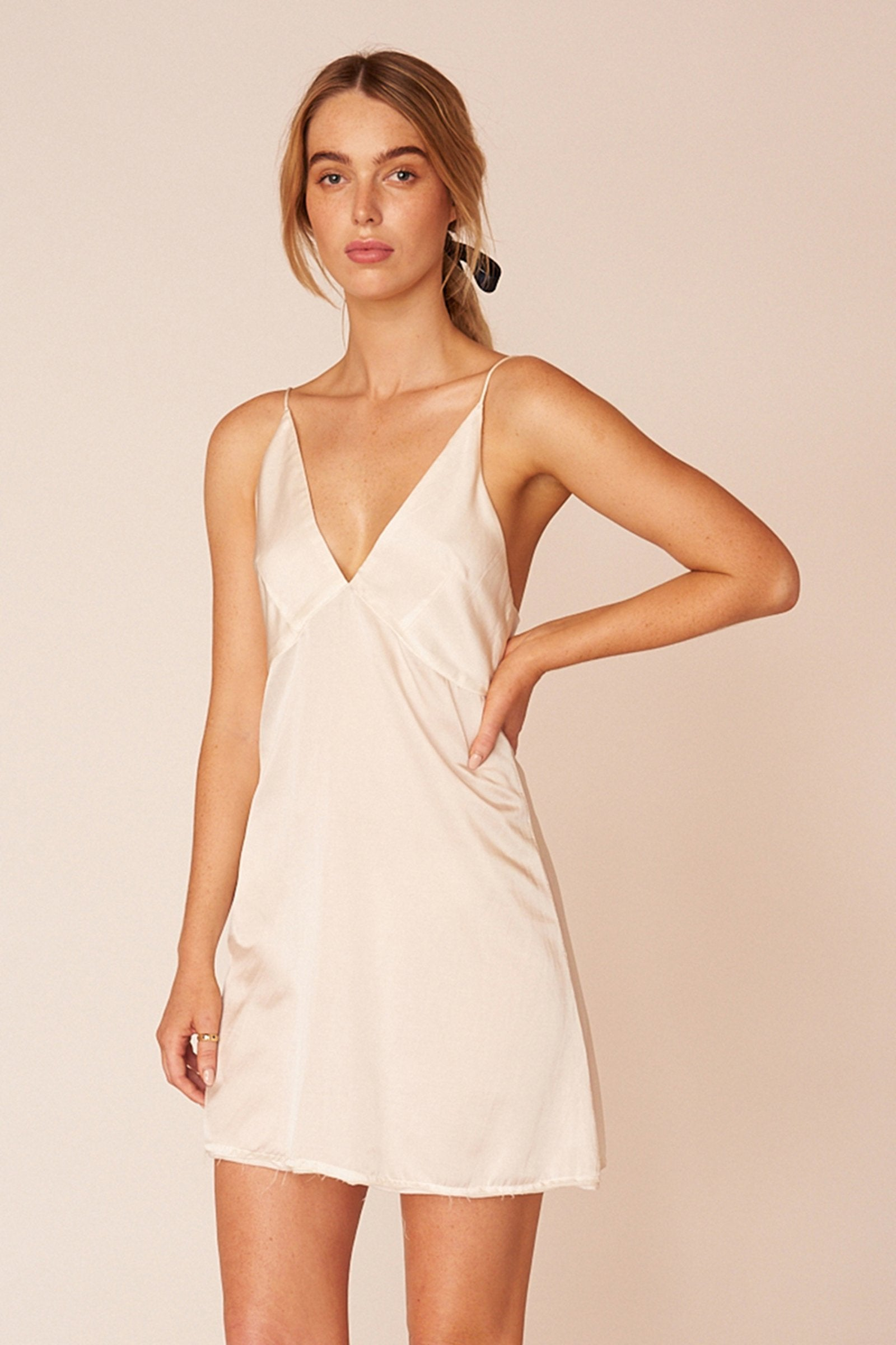 Renoir Minimalist Sustainable White Silk Mini Dress