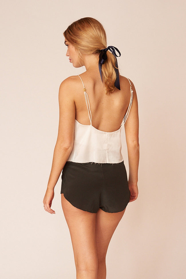 Kahlo Minimalist Sustainable White Silk Cami Top