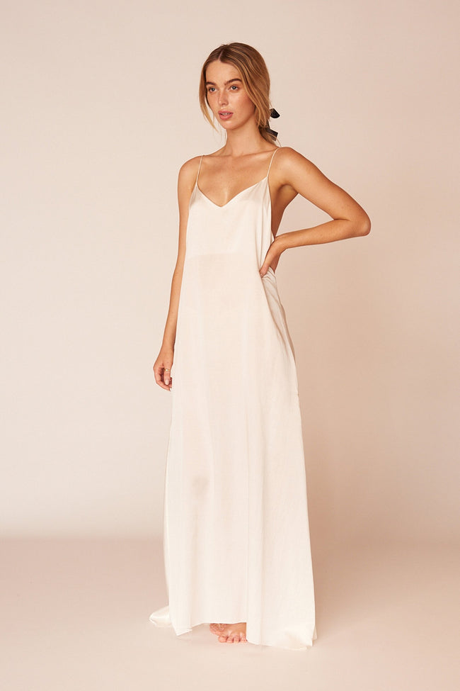 Kahlo Minimalist Sustainable White Silk Maxi Dress
