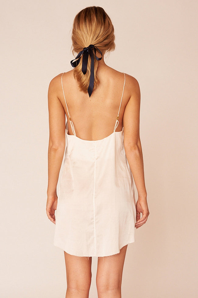 Kahlo Minimalist Sustainable White Silk Mini Dress